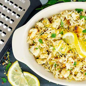 Roasted Cauliflower Rice with Lemon and Feta Cheese
