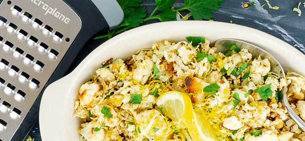 Roasted Cauliflower Rice with Lemon and Feta Cheese Recipe