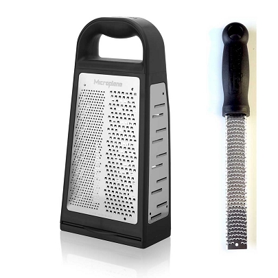 Grate Away:  Elite Box Grater with Classic Short Zester - Black