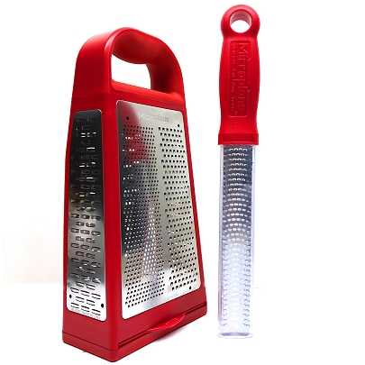 Grate Away:  Elite Box Grater with Classic Short Zester - Red